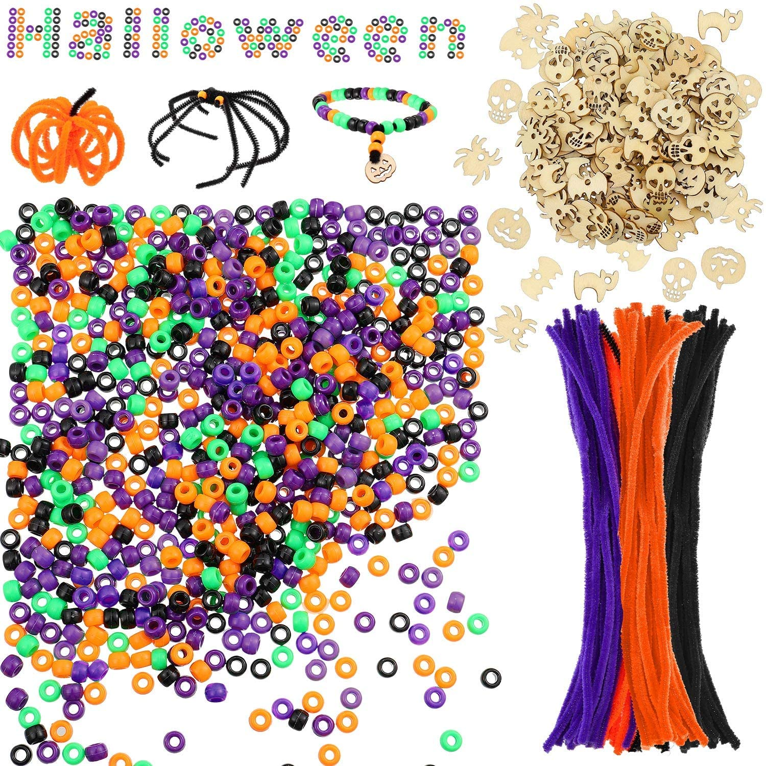 Halloween Pony Beads Plastic Beads Craft, Beads Pipe Cleaners Chenille Stems for Halloween Craft and Art DIY Decoration