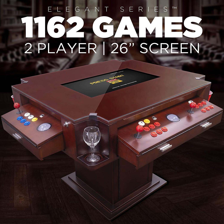 Creative Arcades Full-Size Commercial Grade Cocktail Arcade Machine   Trackball   3-Sided   1162 Classic Games   4 Sanwa Joysticks   Includes Stools   3-Year Warranty (26 Screen, Elegant Cherry Wood)