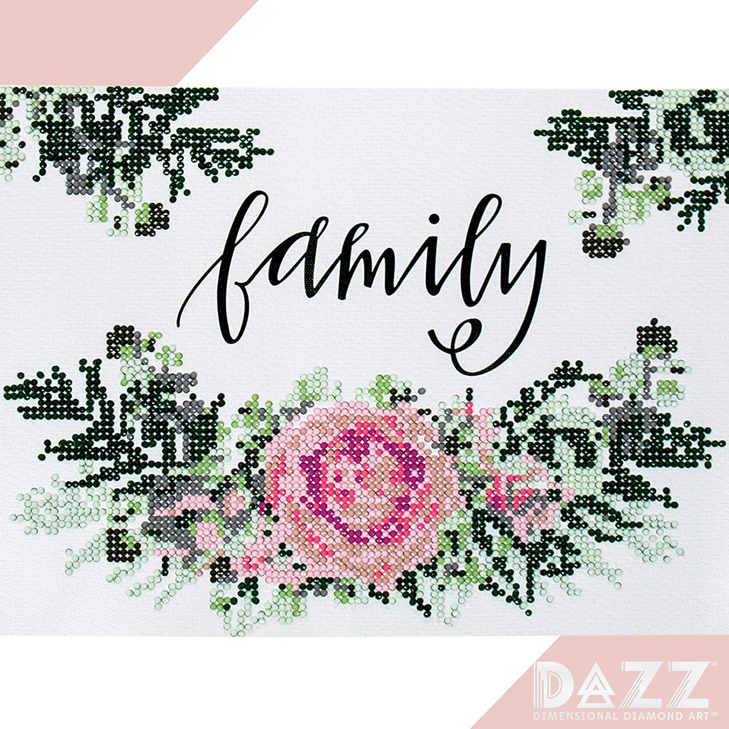 Dazz 3D Gemstone Painting Family Banner Kit by Horizon Group USA, 9x12 Diamond Dotz Painting, Rhinestone Wall Décor for Adults & Children, Gem Tray & Stylus Included. Multicolored