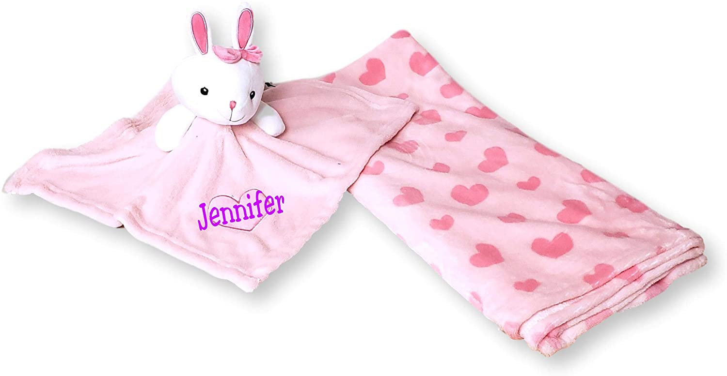 SONA G DESIGNS Plush Animal Security Lovey with Blanket Gift Set for Newborn Infant - Custom Personalized Available (Pink & White Bunnywith Embroidered Name)