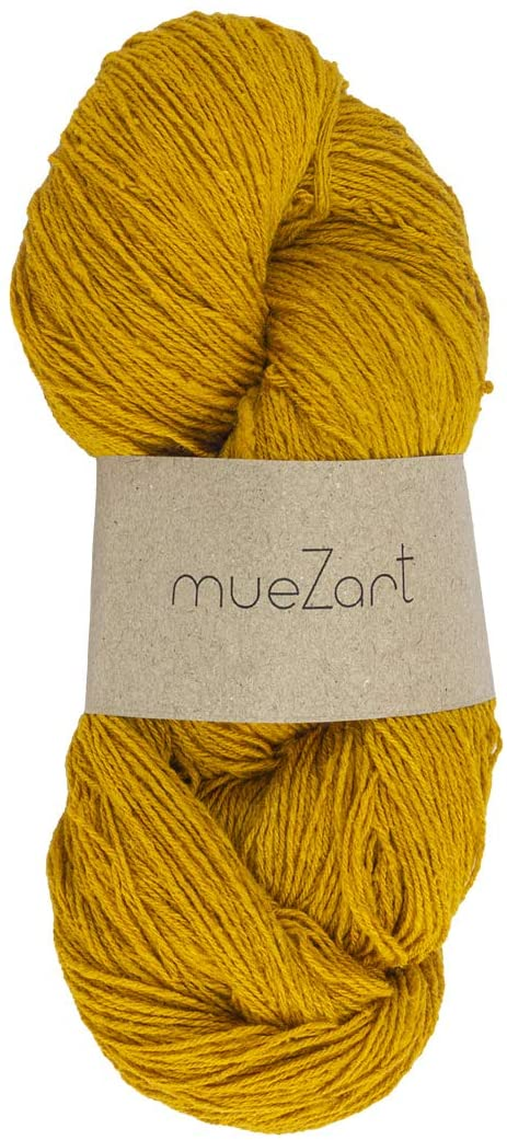 Muezart 100% Natural Eri Silk Yarn | 100g Skein 450 Yards (Approx) | 15/3 Fingering | Weaving, Crocheting, Knitting | Naturally Plant Dyed by Hand | Sunglow Yellow