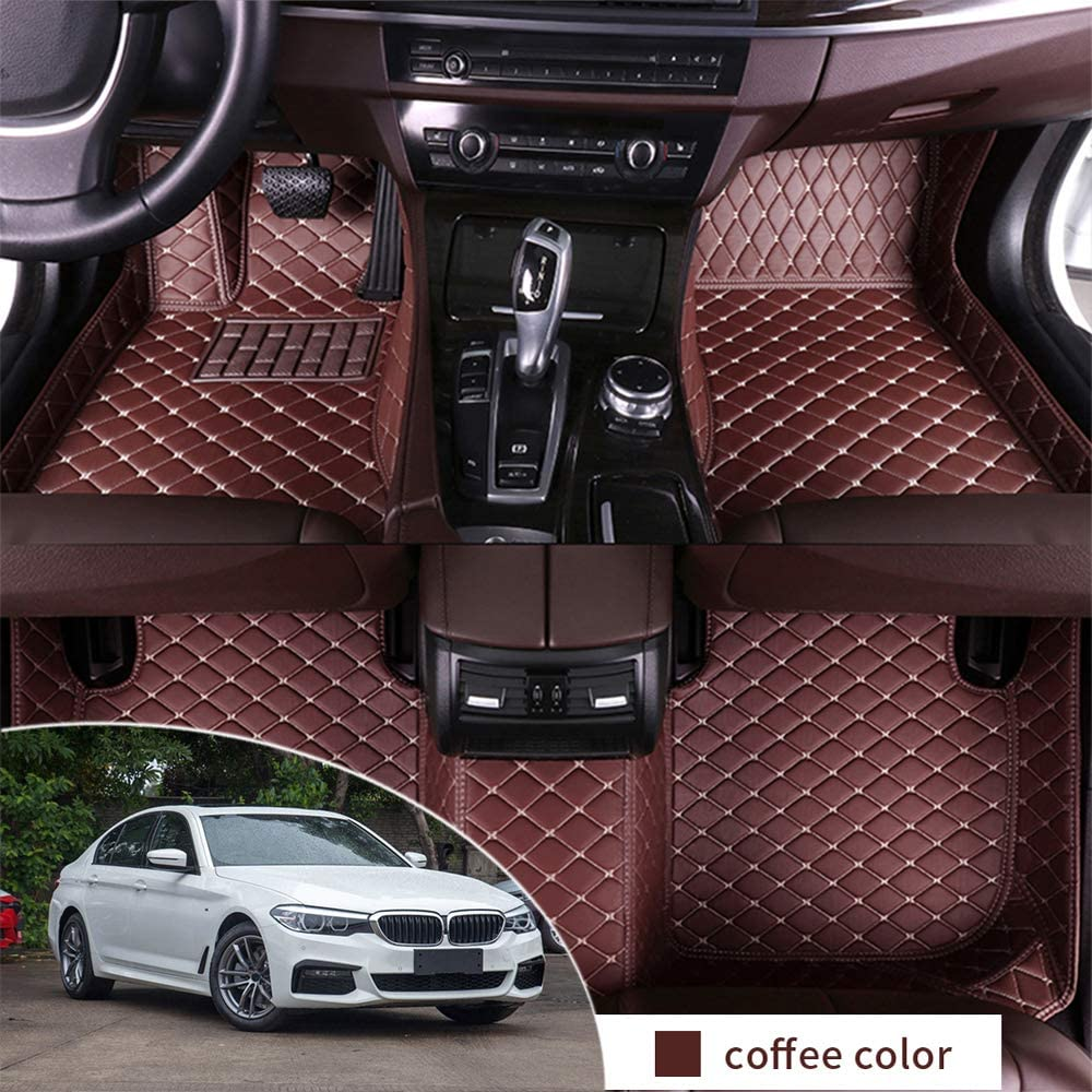 All Weather Floor Mats Leather for BMW 525i 530i 540i G30 2018-2019 Sedan Full Protection Car Accessories Coffee 3 Piece Set