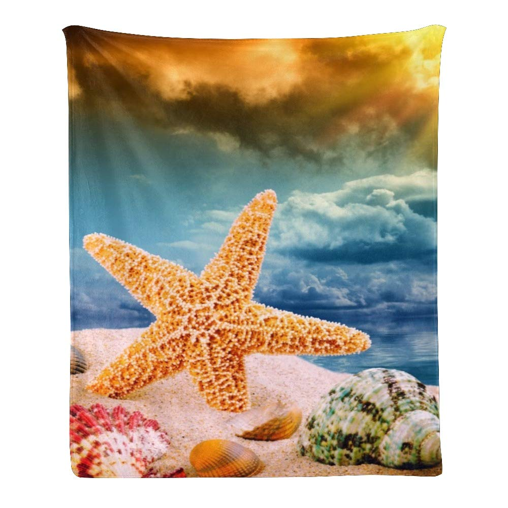 Personalized Kids Fleece Blanket Custom Sunshine Starfish Sandy Beach Baby Throw Blanket for Bed (30 x 40 inches)