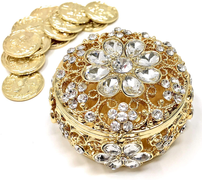 Wedding Unity Coins - Arras de Boda - Round Shaped Flower Box with Decorative Rhinestone Crystals 16 (Gold)