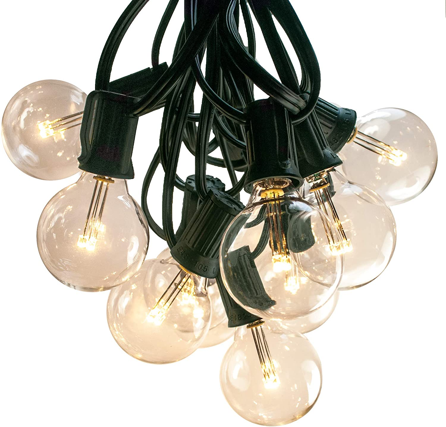 50 Foot LED Warm White Outdoor Globe Patio String Lights - Set of 50 LED G40 Clear 1.6 Inch Bulbs with Green Wire