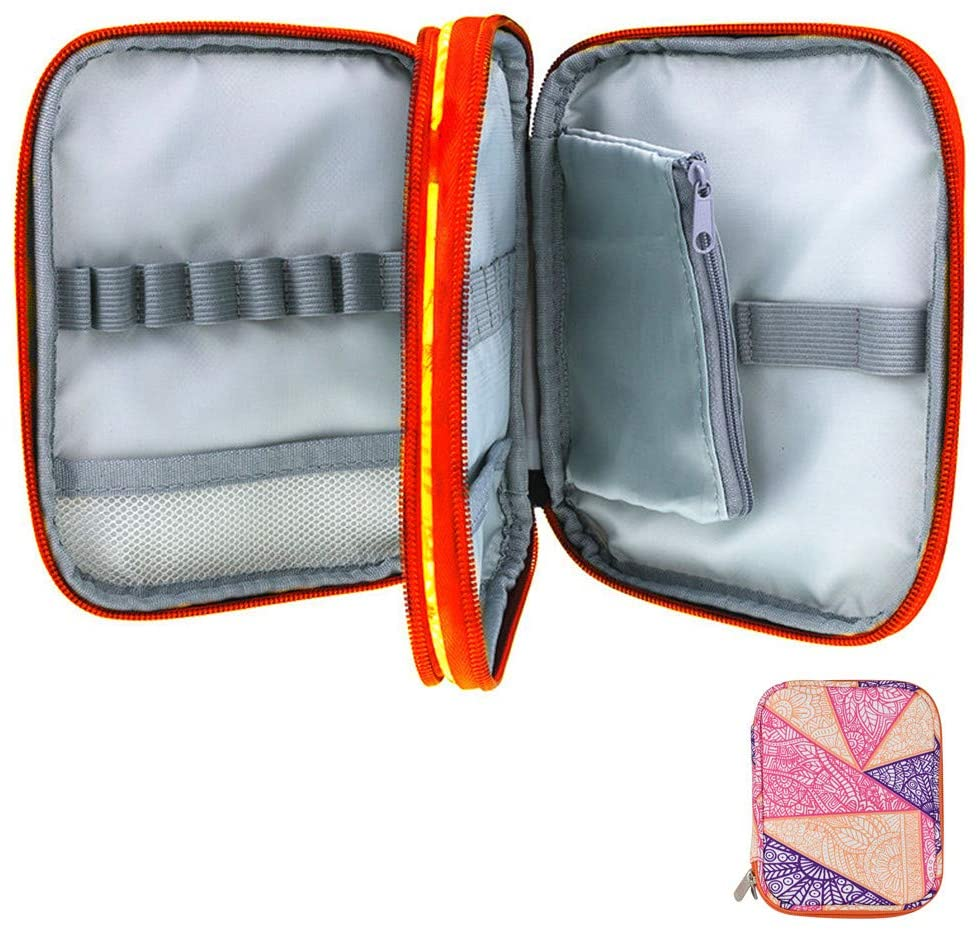 Katech Crochet Hook Case Empty Zipper Bags Organizer Portable Travel Crochet Storage Bag with Web Pocket and Crochet Holder Slots for Carrying Various Crochet Needles and Knitting Accessories (Orange)