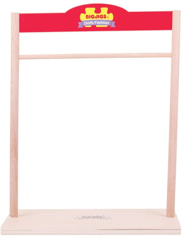 Bigjigs Toys Wooden Closet for Rag Doll Clothes - Fits Small and Large Bigjigs Toys Doll Clothing
