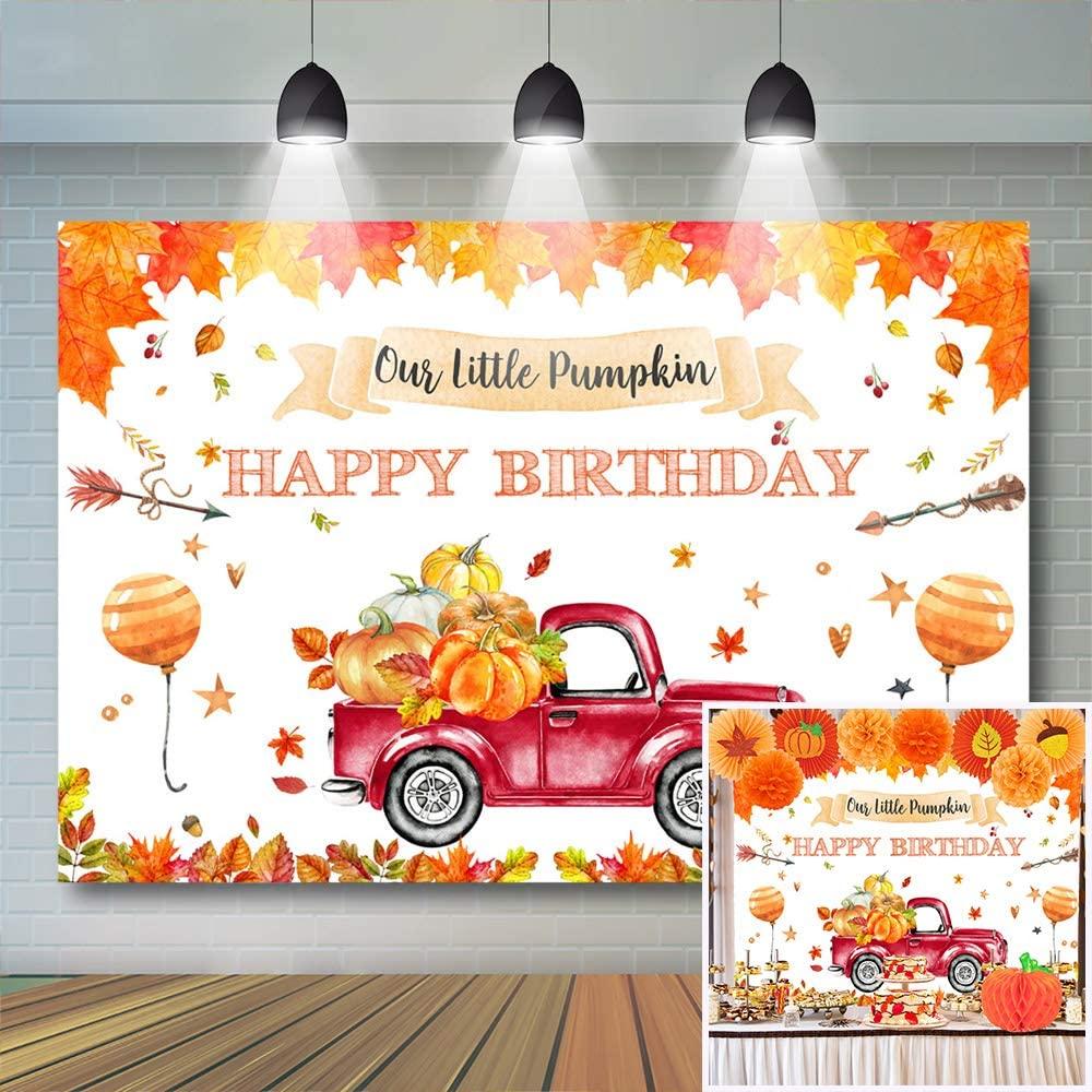 Avezano Pumpkin Birthday Backdrop Autumn Fall Harvest Truck Car Boys Birthday Background Vinyl Fall Pumpkin Birthday Party Supplies Banner Patch Party Decor (7x5ft)