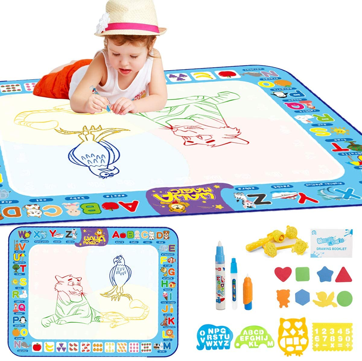 iFCOW Kids Painting Mat, 100x75cm Baby Kids Water Doodling Mat Water Painting Drawing Board Portable Educational Toy Gift for Children Toddlers