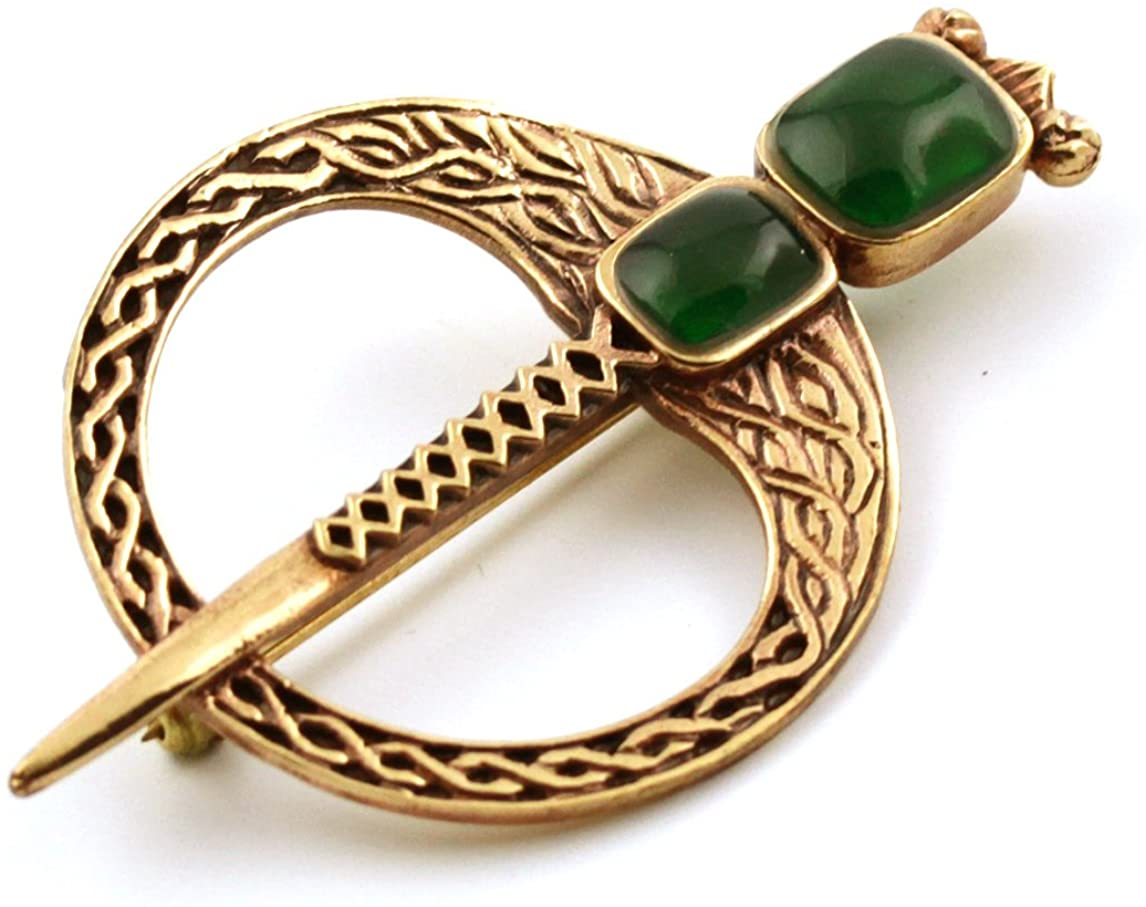 LynnAround Bronze Green Agate Celtic Knot Tara Brooch and Pins Norse Vintage Thailand Made Jewelry