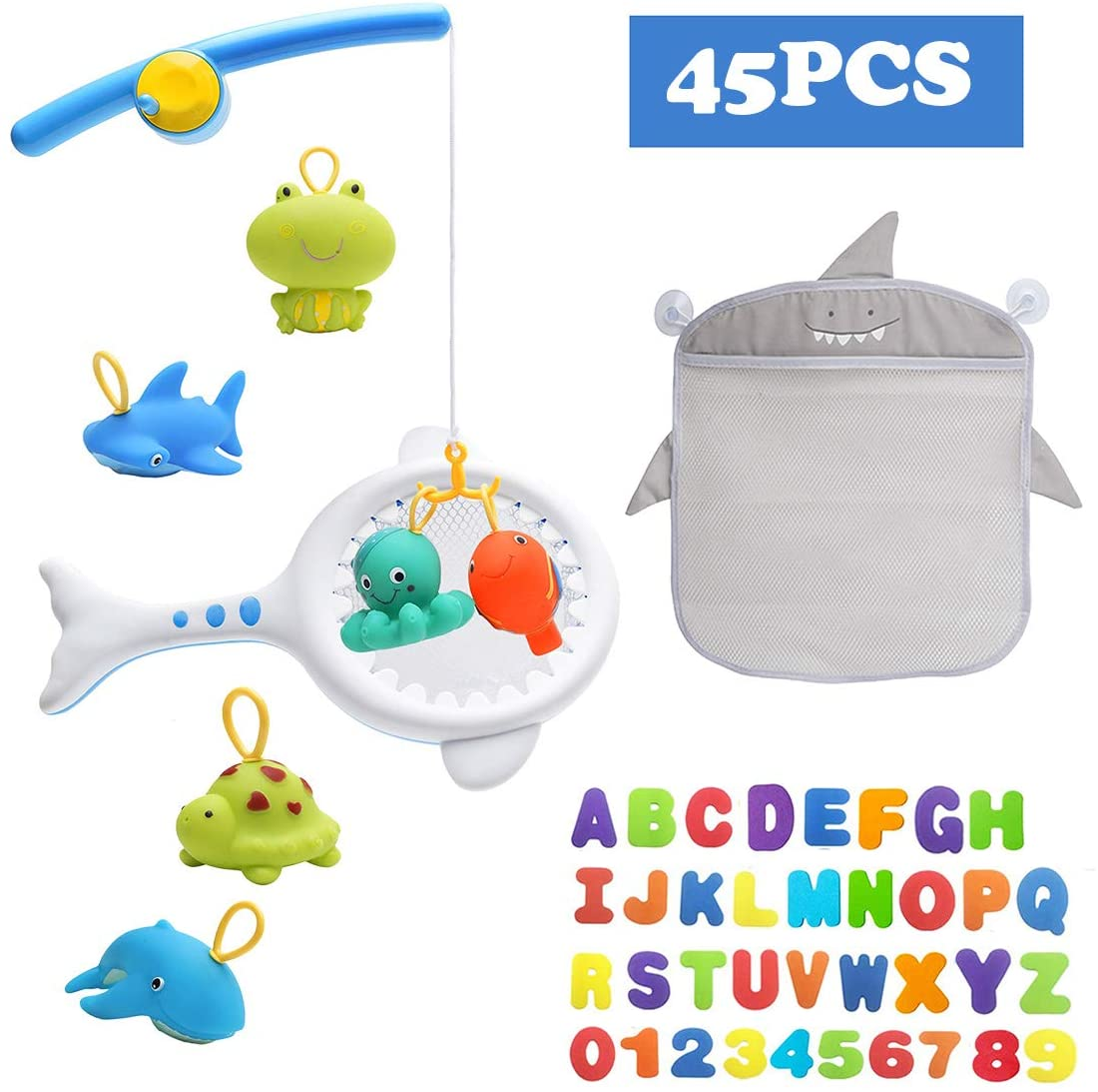 Yookidoobaby Bath Toys with Fishing Net, Floating Animals, Catch Net Game Mesh Bath Toy Organizer Set of 1 Holders+36 Soft Foam ABC 123 Letters & Numbers Birthday Gifts for Boys & Girls