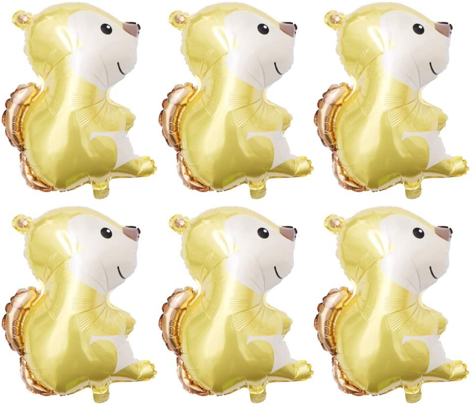 Toyvian Balloons Animal Cute Forest Animal Foil Balloons for Birthday Party Decoration, 6 Pieces