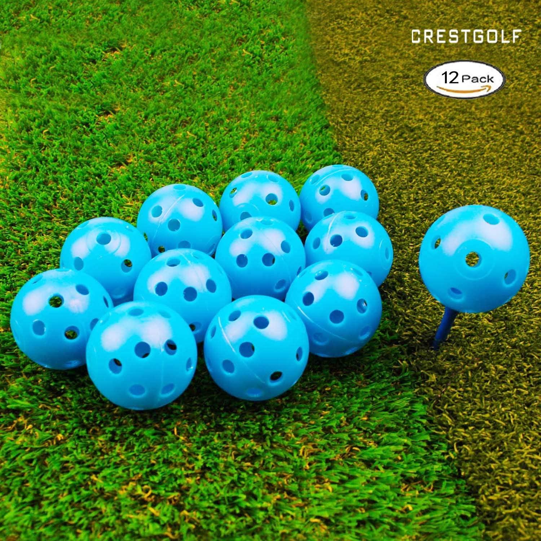 Crestgolf 12/50 Pack Plastic Golf Training Balls – Airflow Hollow 40mm Golf Balls for Driving Range, Swing Practice, Home Use,Pet Play.…