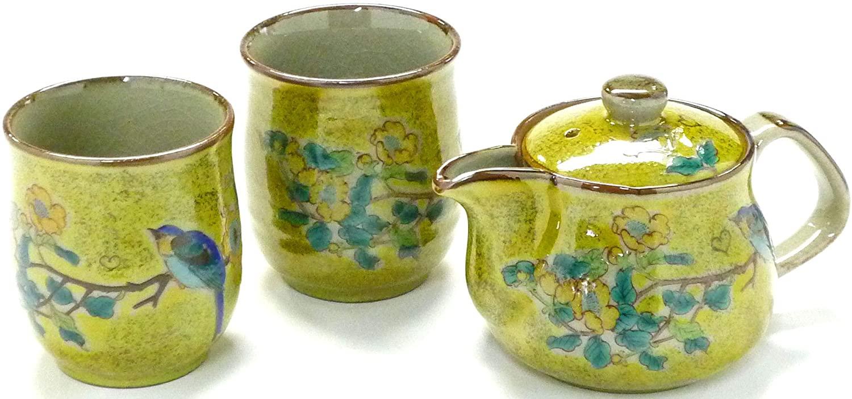 Kutaniyaki Hyakkaen kutani(yaki) Ware kyusu Teapot Small&2tea Cup Set 250ml kinshibai ni Tori feat Decorated Base