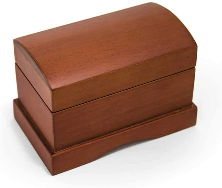 Matte Wood Tone Treasure Chest Simple 18 Note Music Ring Box Blowout - Many Songs to Choose - Love Makes The World Go Round