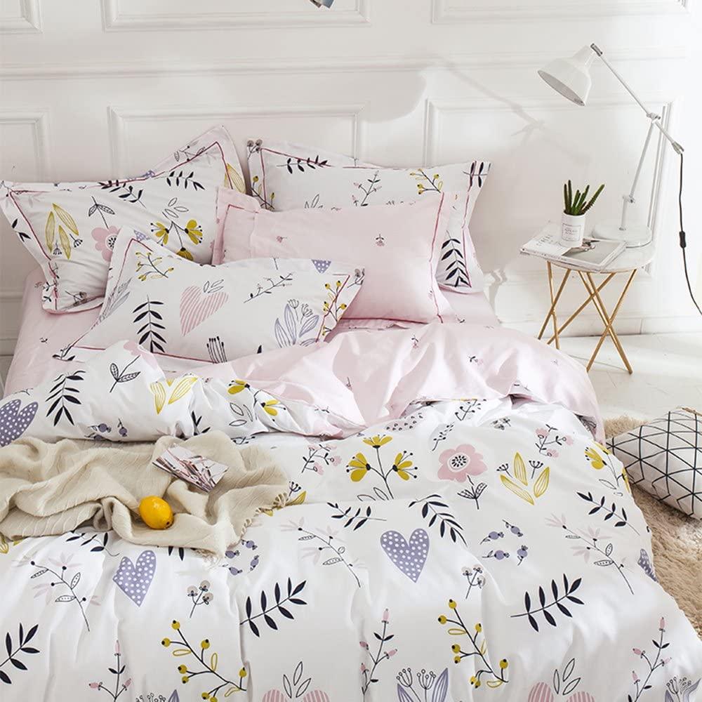 AMWAN Floral Girls Duvet Cover Sets Twin Garden Flower Print Bedding Sets Lightweight Cotton Floral Comforter Cover Pink Flower Bedding Cover Set for Kids Teens Women 1 Duvet Cover 2 Pillowcases