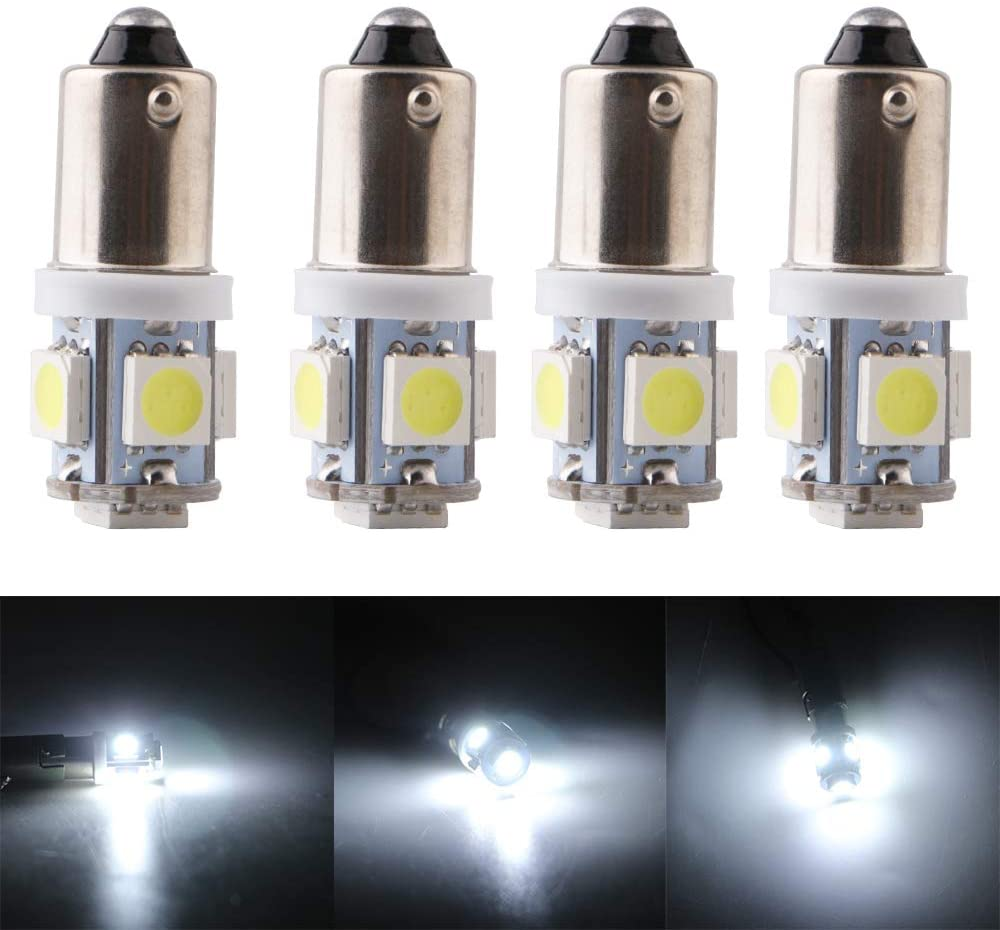 QasimLed White 24V BA9S 5050 5SMD LED T4W 60LM Car Trunk Interior Dome Map RV License Plate Lights (Pack of 10)