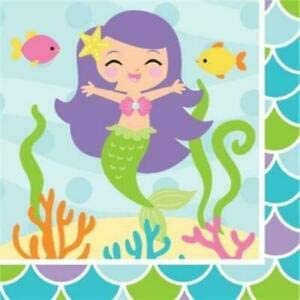 Mermaid Friends Beverage Napkins 16 Pack Girls Birthday Party Decoration