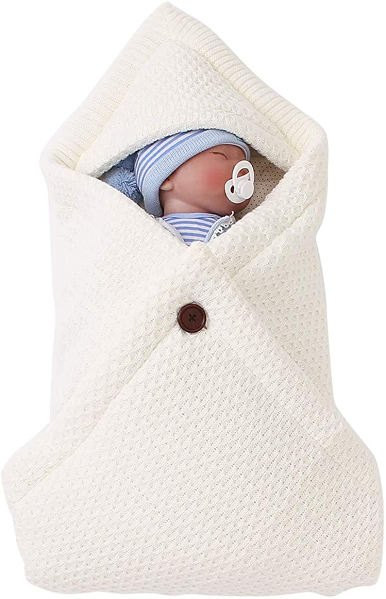 puseky Newborn Baby Sleeping Bag, Infant Knitted Warm Hooded Swaddle Blanket Stroller Wrap Sleeping Bag Receiving Blankets