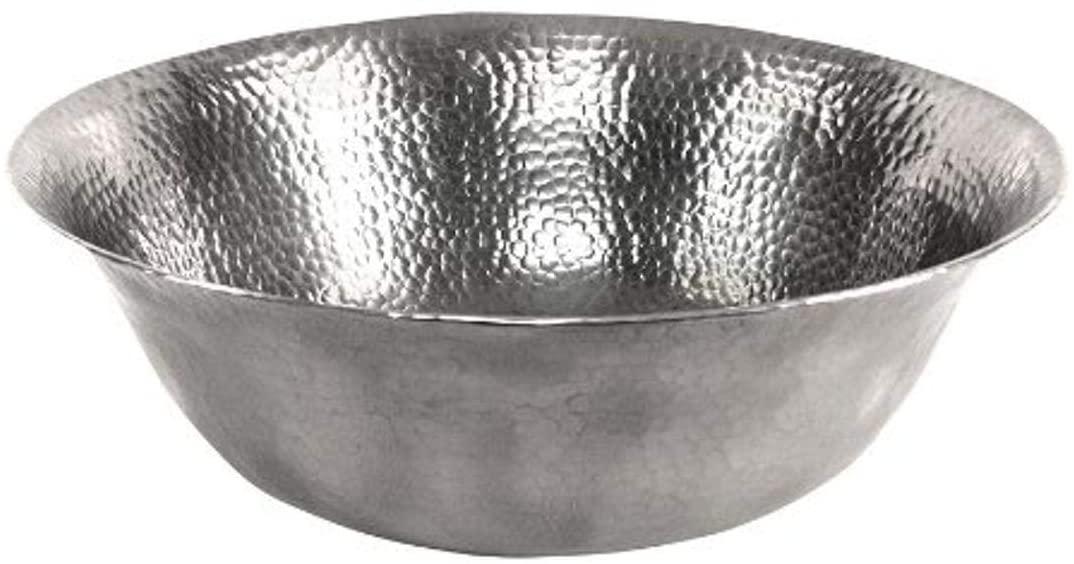 The Copper Factory CF159SN Solid Hand Hammered Copper 16-Inch Diameter Round Vessel Sink, Satin Nickel