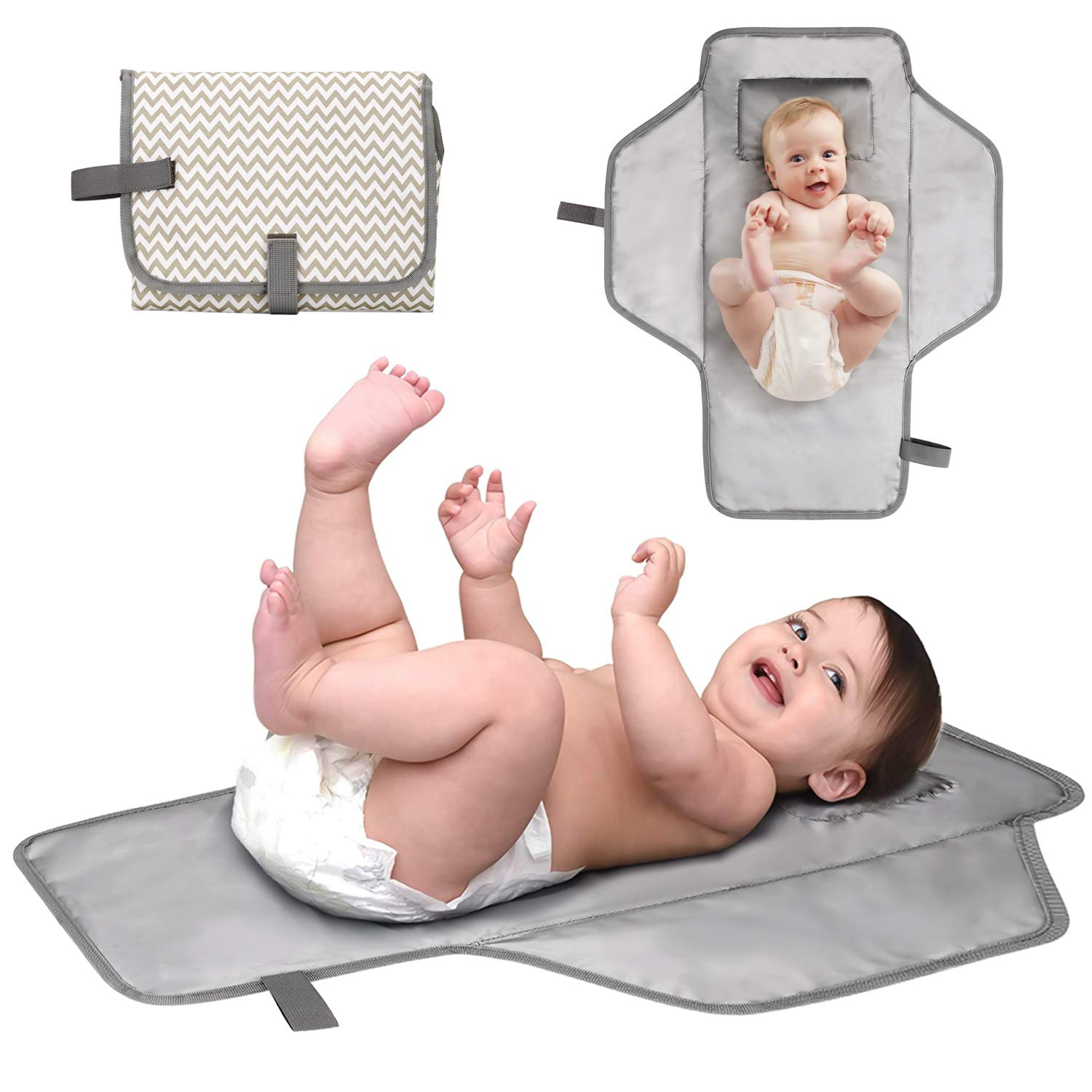 BAGLHER丨Portable Changing Pad,Waterproof Baby Portable Diaper Changing Table with Pillows,Thickened Padding Diaper Pad,Ripple