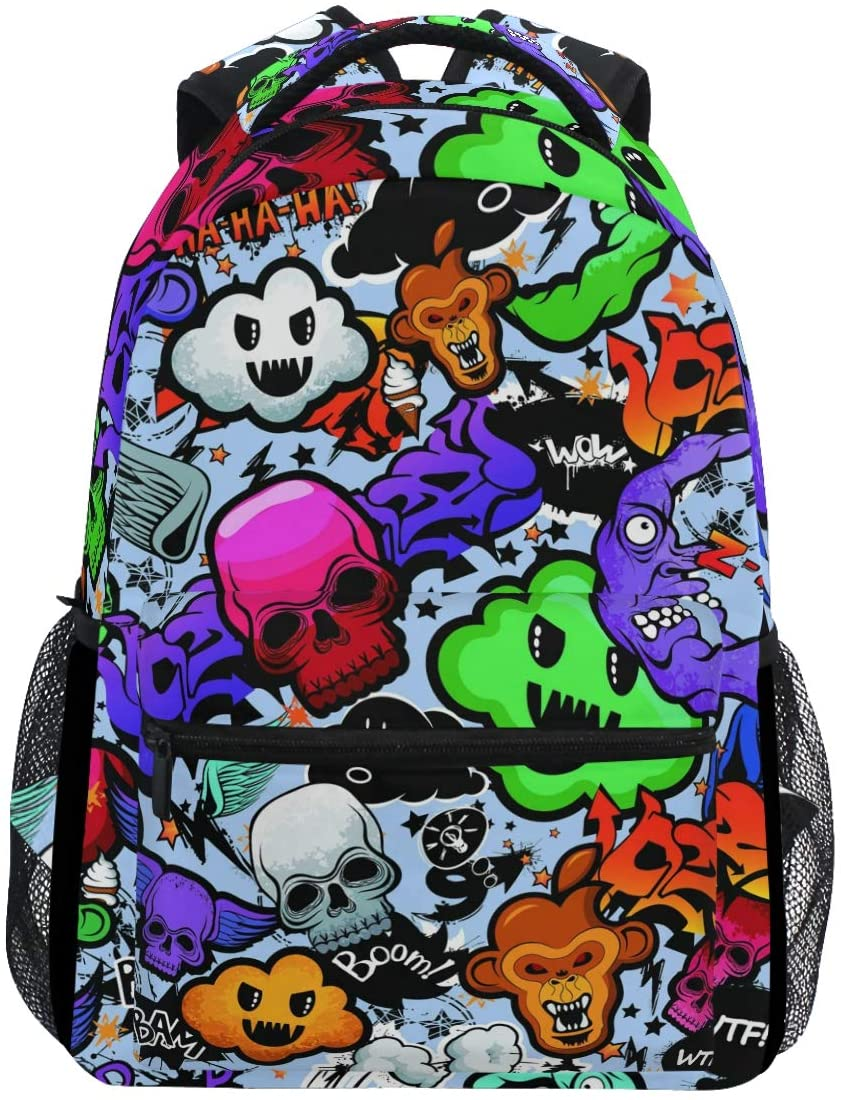 Kaariok Graffiti Skull Monkey Backpack Bookbags Daypack Travel School College Bag for Womens Mens Teens