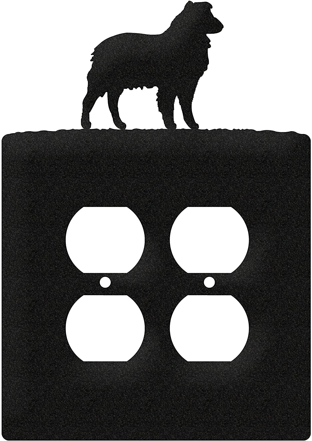 SWEN Products Australian Shepherd Metal Wall Plate Cover (Double Outlet, Black)