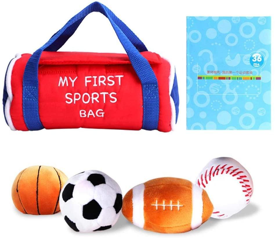 Tnfeeon Cute Soft Plush Sports Ball Set for Baby, Cartoon Throwing Pillow Stuffed Soft Push Toy Football Basketball Baseball for Children Kids
