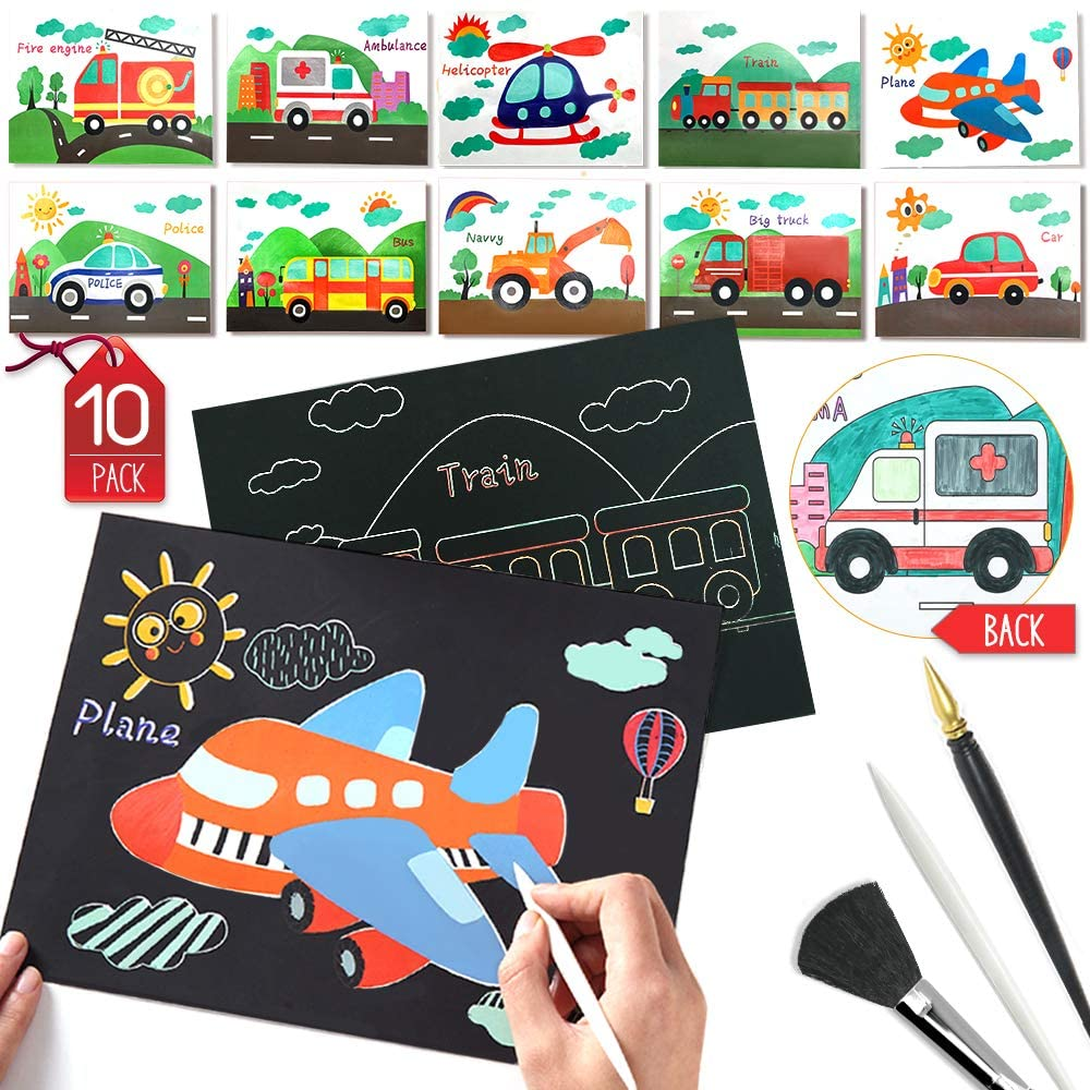 ldab Rainbow Scratch Art Paper with Coloring Creation Cards, Scratch Painting with 2 Different Scratch Drawing Pens and 1 Clean Brush, Magic Scratchboard Arts and Crafts for Kids Party Game(Vehicle)
