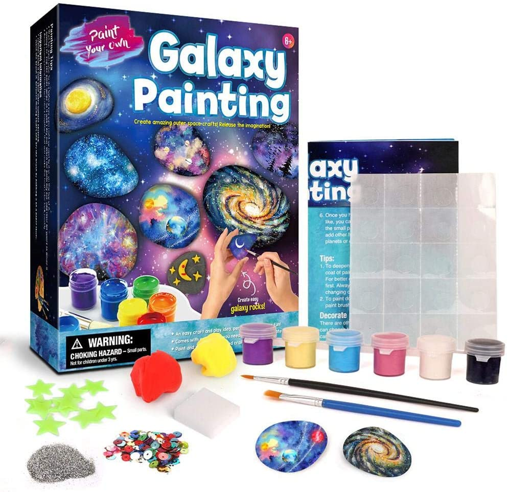 Rock Painting Kit for Kids, Arts Crafts DIY Fun Educational Craft Kits Art Set Doodle Colorful Painting Toy Set for Girls Boys Kids 8-12 Years Old