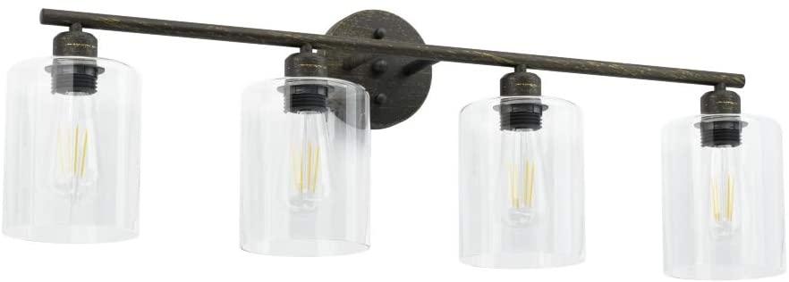 Aipsun Industrial Bathroom Vanity Light Vintage Vanity Lighting Fixture 4 Lights Industrial Wall Lamp Light Fixture for Bathroom (Exclude Bulb)