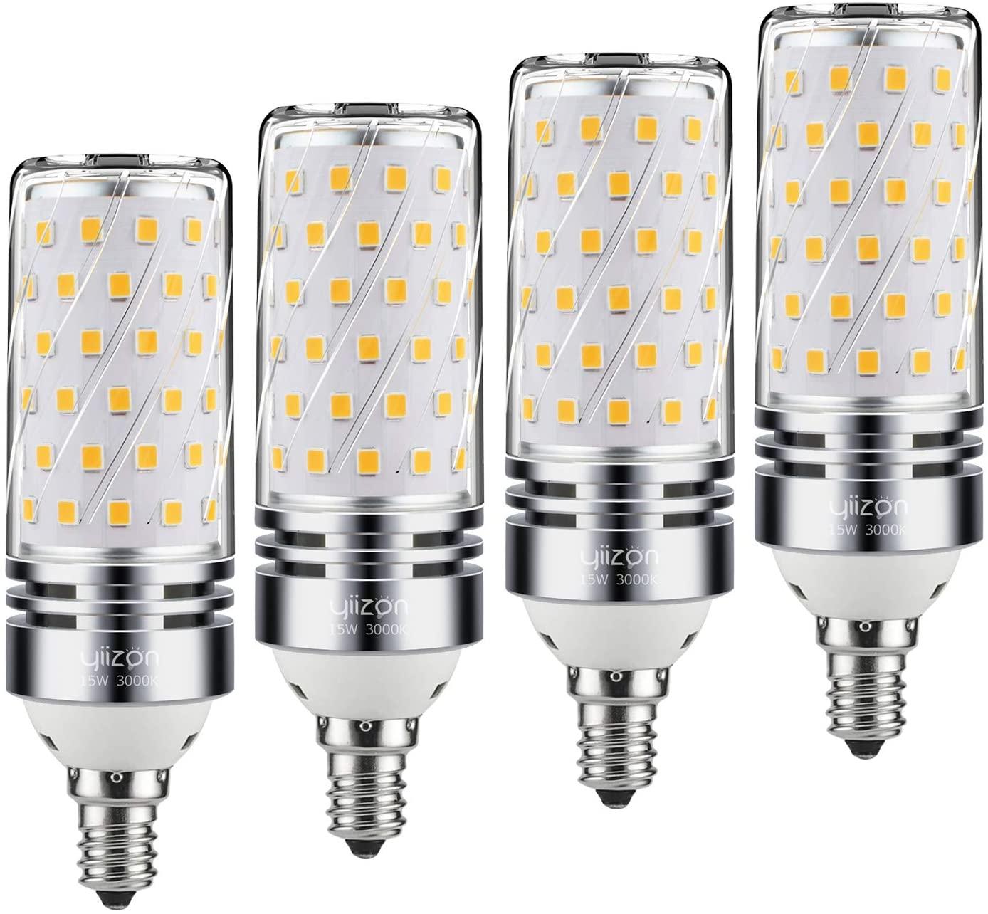 Yiizon E12 LED Corn Bulbs,15W LED Candelabra Light Bulbs 120 Watt Equivalent, 1500lm, Warm White 3000K LED Chandelier Bulbs, Decorative Candle, Non-Dimmable LED Lamp(4-Pack)