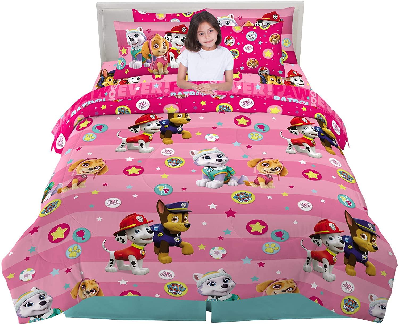Franco Kids Bedding Super Soft Comforter and Sheet Set with Sham, 7 Piece Full Size, Paw Patrol Pink