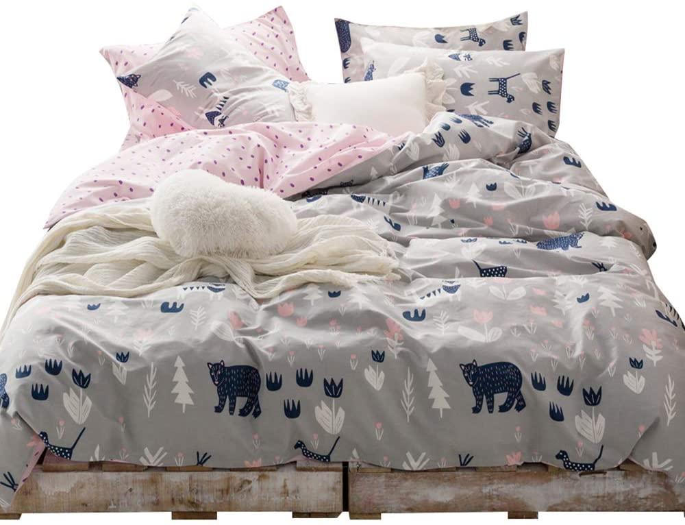 HIGHBUY Floral Bear Print Duvet Cover Full Kids Floral Bedding Sets Queen Pink Reversible 3 Pieces Cotton Comforter Cover Set for Teens Boys Girls Full Bedding Sets