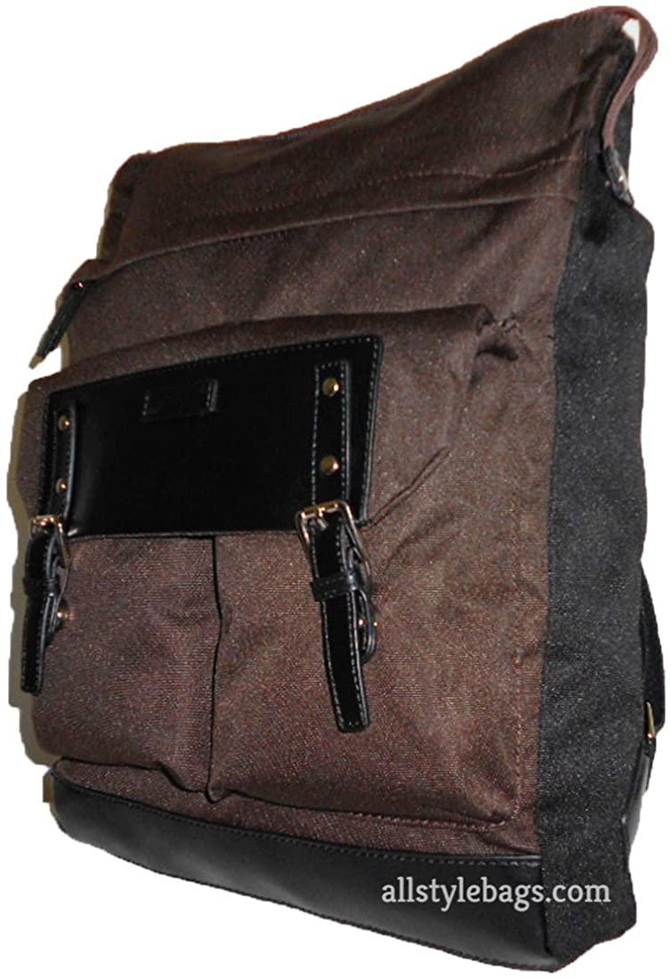 Color block Canvas book brown tablet laptop form School L backpack Bag blanc