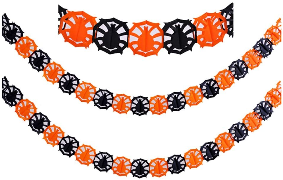 PANDA SUPERSTORE Set of 5 Halloween Paper Garland Decorations Halloween Banners (Spider A)