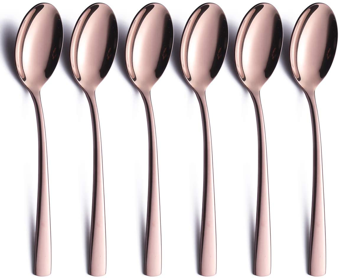 Rose Gold Tea Spoons Set of 6 Piece 18/0 Stainless Steel 6.6 inch Copper Colored Dessert Spoon Heavy Weight Modern Silverware Flatware Spoons Only Serving for 6 Eating Cutlery Bulk Mirror Polished