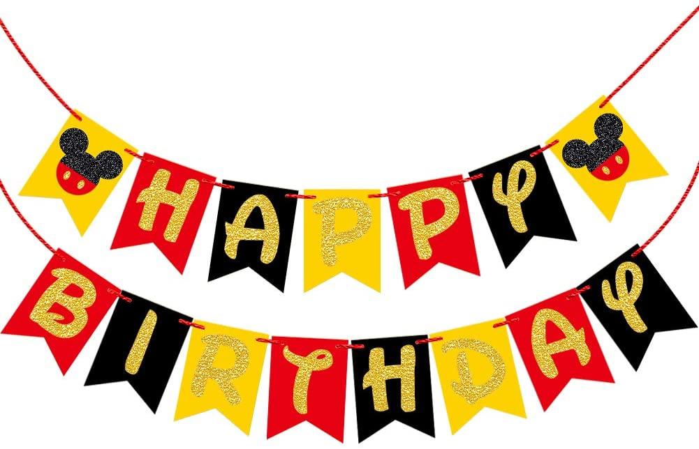 Mickey Mouse Happy Birthday Party Banner- Mickey Mouse Party Supplies For Kids Birthday Party Decorations(Golden Glitter Design)