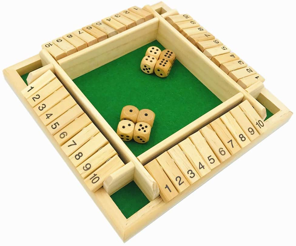 Yuanhe 4-Player Shut The Box Dice Game - 4 Sided Wooden Board Game