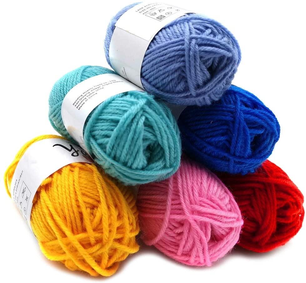 Feltsky 5.3 oz Crochet Yarn - 0.88 oz x 6 Colors Acrylic Yarn for Crochet and Knitting Craft - Light Worsted Durable Yarn 8s/4 Plies - 330 Yard / 300m (White to Black)