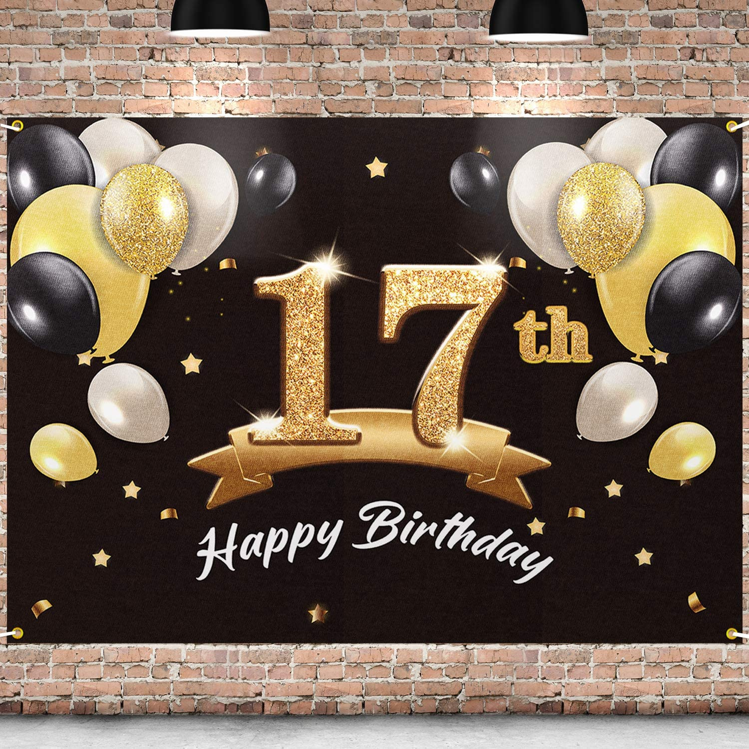 PAKBOOM Happy 17th Birthday Backdrop Black Gold Photo Background Banner 17 Birthday Decorations Party Supplies for Boys