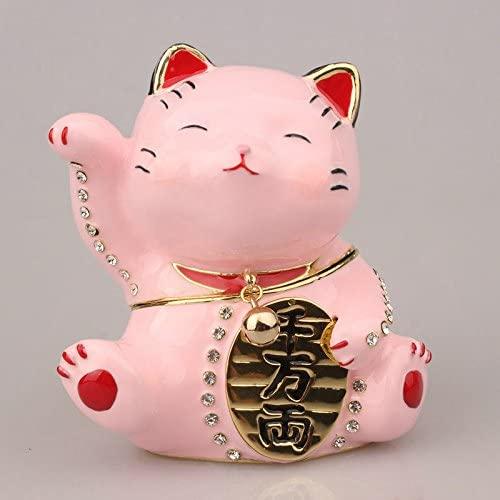znewlook Lucky Cat Trinket Japanese Cat Figurine Metal Trinket Box from (Pink)
