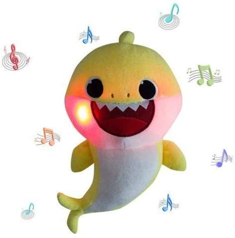 Lsxszz8-Baby Shark Official Singing Plush, Enjoyfeel Soft Music Sound Baby Doll Stuffed Plush Toys Singing English Song for Boy Girl (Yellow1)