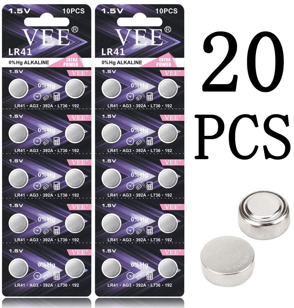 VEE LR41 Battery 384 AG3 392 L736 1.5V Button Battery 20Pack