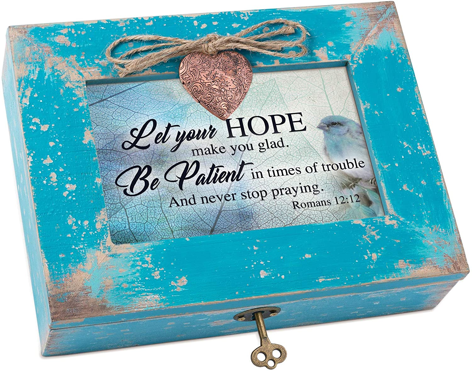 Cottage Garden Let Your Hope Be Patient Teal Distressed Wood Locket Music Box Plays Amazing Grace