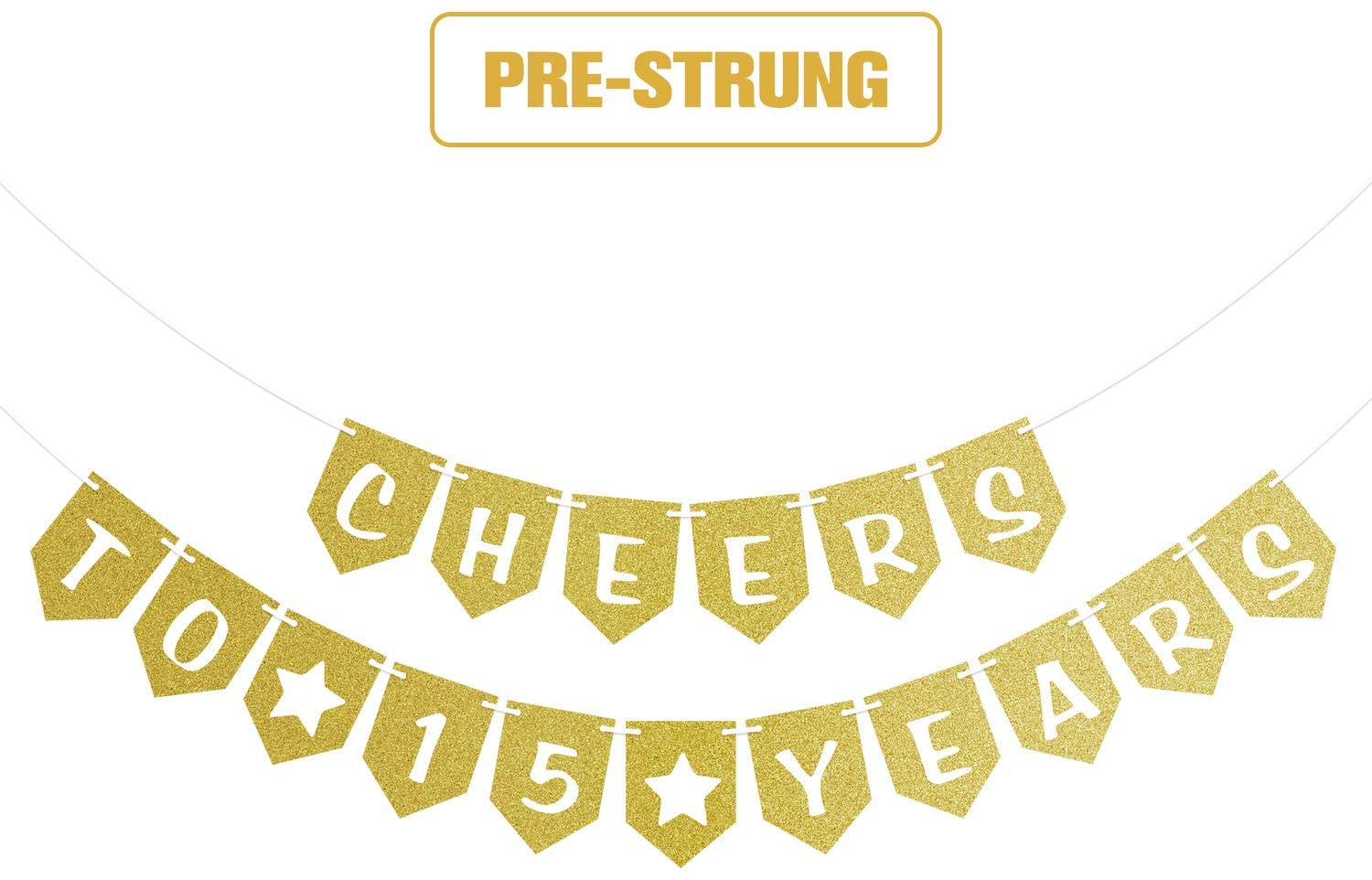 Cheers to 15 Years Pre-strung Gold Glittery Banner 15th Birthday Wedding Anniversary Party Decorations for Boy Girl Men Women