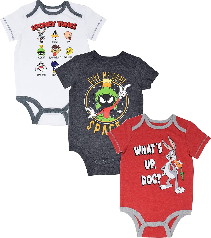 Warner Bros. Looney Tunes Baby Boys 3 Pack Bodysuits: Bugs Bunny, Taz, Marvin
