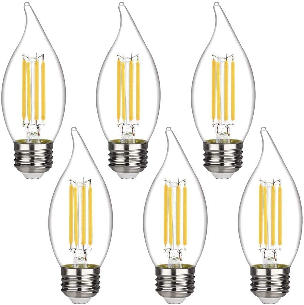 CA11 (C35) Chandelier led Light Bulbs, Power 4.5W, Equivalent 50W, dimmable, 2700K Warm White, 450LM, E26 Chandelier Base, Clear Glass Flame Shape Bent Tip(E26 Medium Base-6 Pack)。