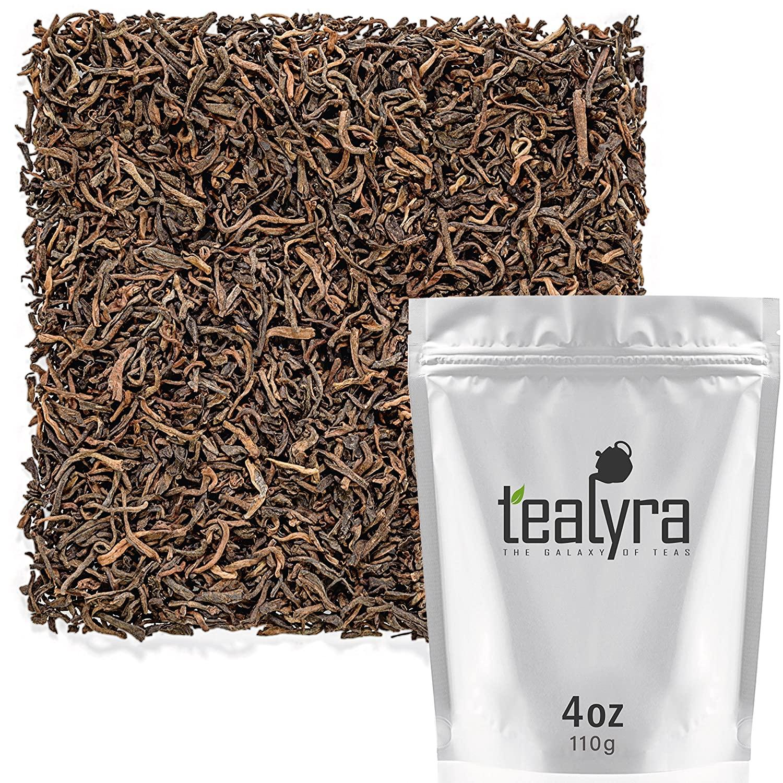 Tealyra - Ripe Puerh Tea - 20 Years Aged Loose Leaf from Yunnan - China - 100% Natural - Caffeine Level High - Weight Loss Tea - Aged Black Tea Pu Er - 110g (4-ounce)