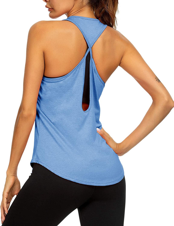 Loovoo Womens Workout Tank Tops Yoga Shirts Sport Tops Running Activewear Sleeveless T Shirt for Woman